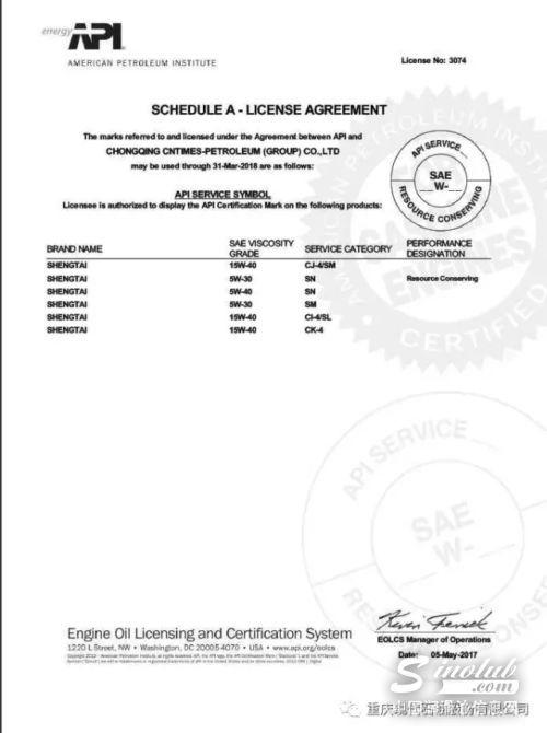 重磅:现代石油取得API最新一代柴油机油规格CK-4认证